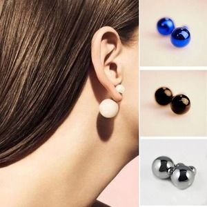 and back double fan image sided pearl loading ear mini is earrings front jackets itm s stud pearls