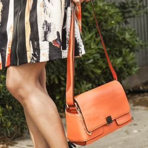 The Limited Orange Faux Leather Bag