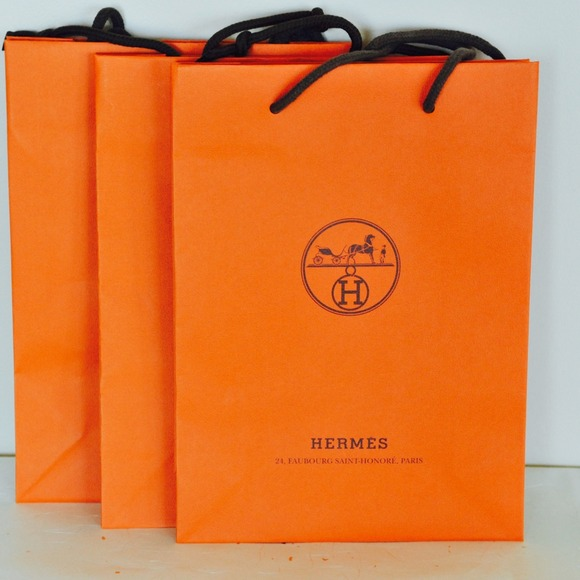 Hermes - Hermes orange paper shopping bag x3 100% authentic from ...
