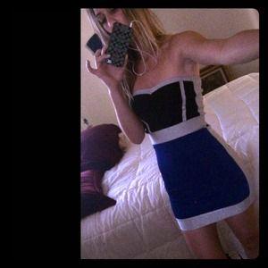 bebe Dresses & Skirts - NWOT XS bebe Bodycon Dress Navy Black & Silver