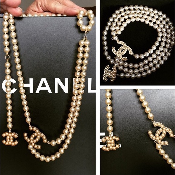 chanel necklace. chanel pearl necklace/belt necklace