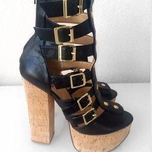 Platform Black Leather Gladiator Sandals