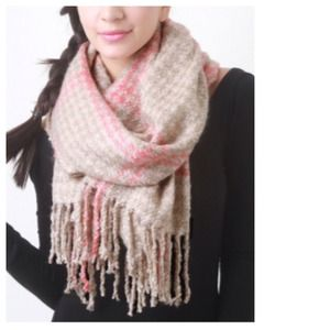 Accessories - Pink & Beige Plaid Fringe Scarf