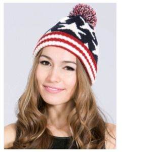 Red White Blue Knit Beanie