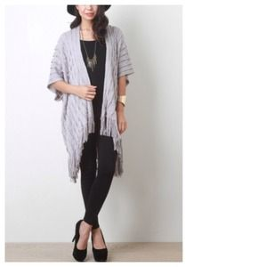 Jackets & Blazers - Soft Grey Cable Knit Fringe Open Cardigan