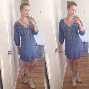 HOST PICK Boho chambray embroidered dress