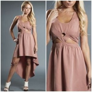 Keepsake Cutout High Low Hem Dress Tan NWT 6