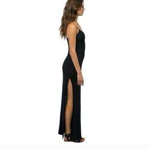 Black Maxi Dress with side slit from Tobi