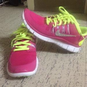 Nike Shoes - Bejeweled Nike Frees