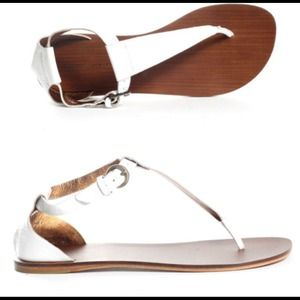 Cynthia Vincent Shoes - Cynthia Vincent White Patent Leather Dana Sandal