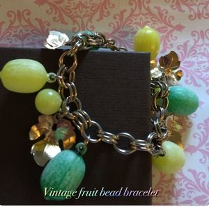 Vintage fruit & beaded bracelet