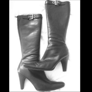 Authentic PRADA knee high boots with silver buckle