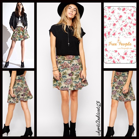 42acfdf16 Free People Skirts | 88 Floral Tapestry A Line Skirt | Poshmark