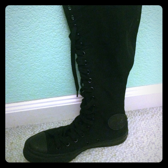 42 converse shoes black knee high lace up chuck