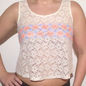 NWT Sheer Lace White Tank Crop Top