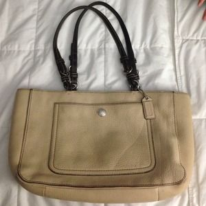 Beige and brown Coach handbag