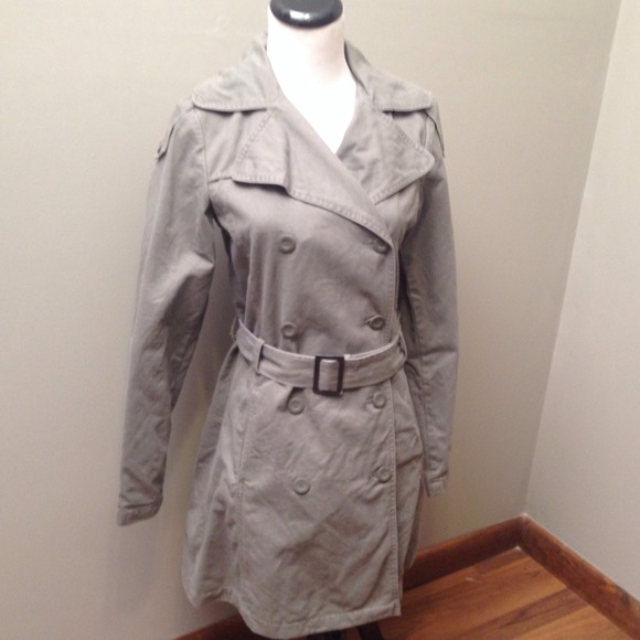 Green H&m Cotton Trench