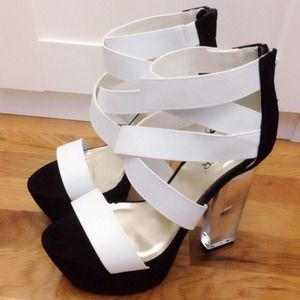 Bumper Shoes - Strapped black and white Lucite Heels