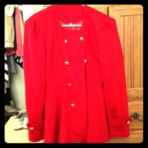 Red military style jacket Never Worn!!🎀🎀