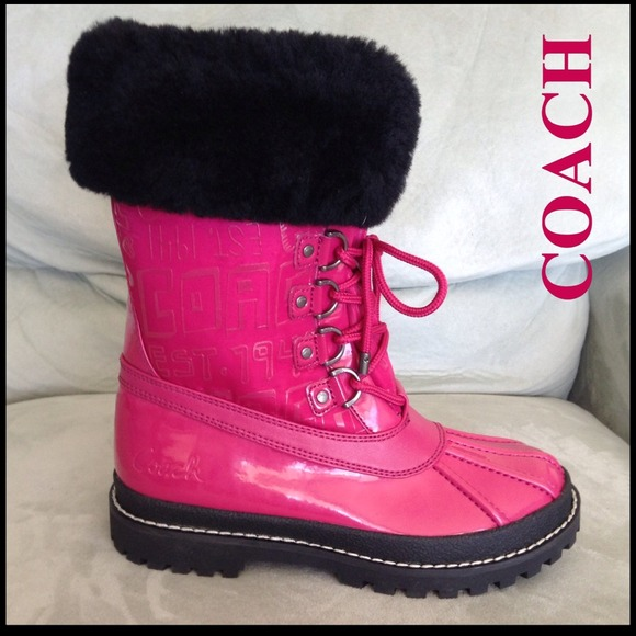 43% off Coach Boots - NEW COACH LEONORA warm pink rain winter snow ...