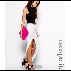 ASOS petite white maxi skirt with slit