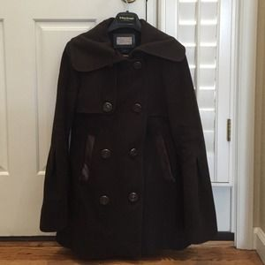 Mackage chocolate brown wool coat size s/p