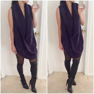 Plum High Low Cowl Sweater Vest.