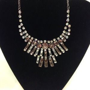 Rectangular rhinestone statement necklace