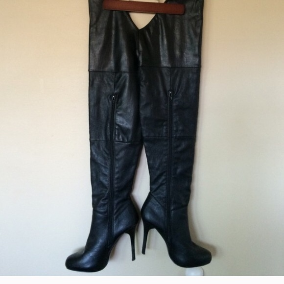 50 report shoes thigh high leather zip up boots