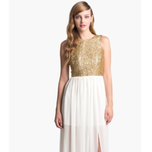 White and gold maxi dress
