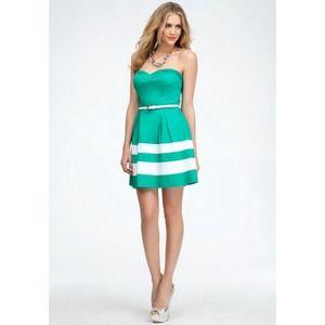 Green Bebe strapless dress