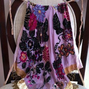 Halter top embroider flower