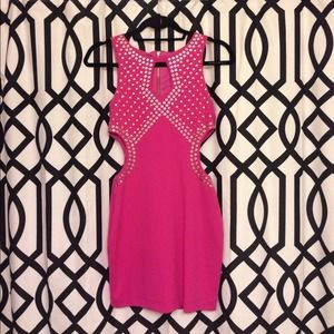 Pink Embellished Cut Out Dress