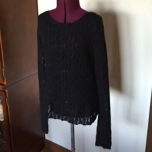 INC Black Beaded Lacy Sweater S