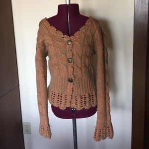 Peachy Orange & Metallic Thread Cardigan