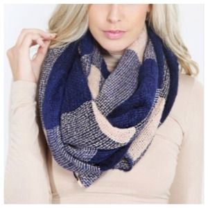 Accessories - Navy Taupe Tartan Plaid Scarf