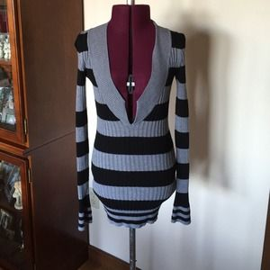 Deep V Neck Gray & Black Striped Sweater S