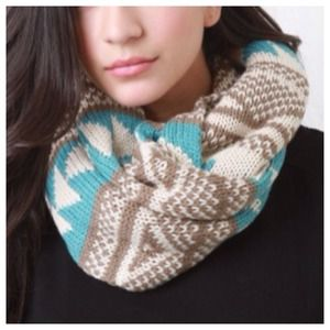 Accessories - Blue & Taupe Tribal Infinity Scarf