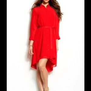 Armani Exchange Red high-low button down tie Dress