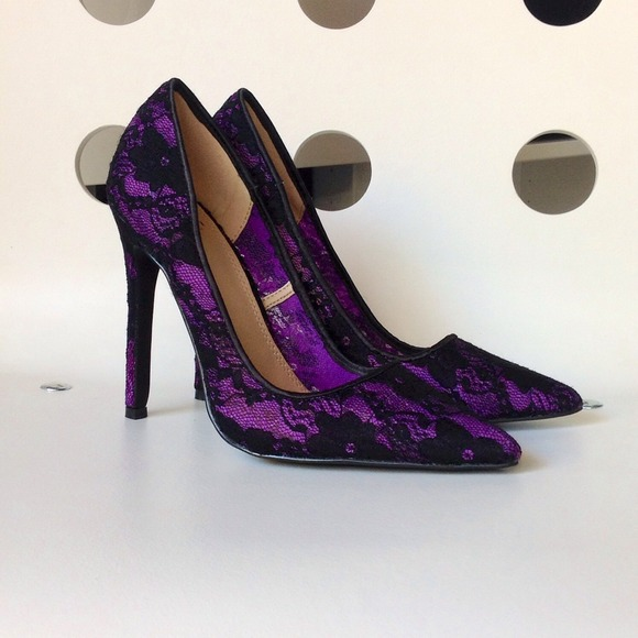64% off Shoe Dazzle Shoes - Purple and black lace pointy toe heels ...
