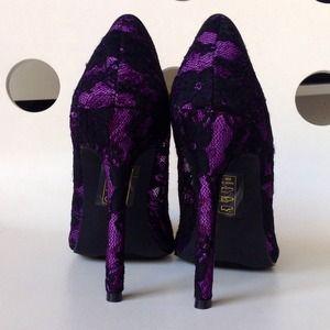 68740cd630 Shoe Dazzle Shoes | Purple And Black Lace Pointy Toe Heels Pumps ...