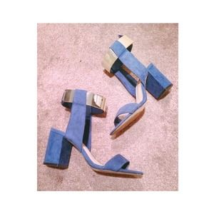 Zara Gold Ankle Strap Blue Sandals