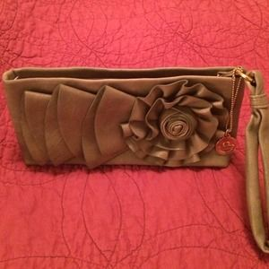Big Buddha olive leather embellished clutch