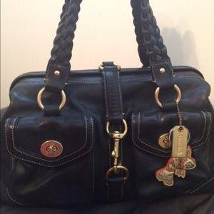 % Auth XL Coach satchel/Blk leather *MakeOffer