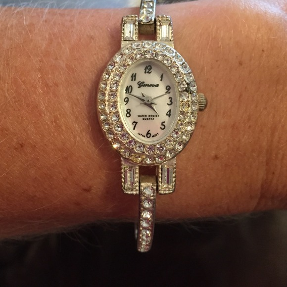 98 off geneva accessories geneva diamond tennis bracelet watch from mandie 39 s closet on poshmark
