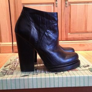Jeffrey Campbell Black Leather Ankle Boots