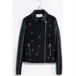  Zara Jacket with Leather Sleeves & Medallions