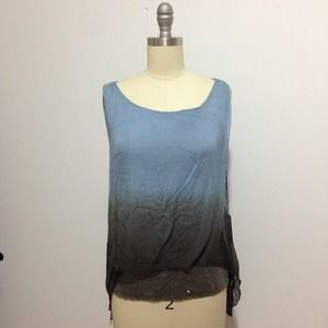 Tops - NWT Silk Blue & Gray Ombré Loose Blouse XS