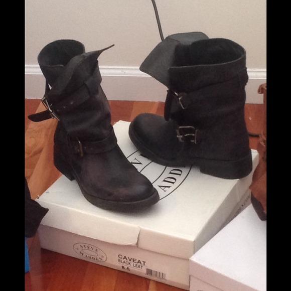 b0786c5583f Steve Madden Black Caveat leather boots