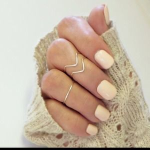 Set of 3 silver gold chevron midi knuckle rings